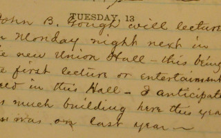 A March 1866 entry from the diary of Charles Cleveland, a grocer in downtown Adrian, records the first public event at the Croswell Opera House.